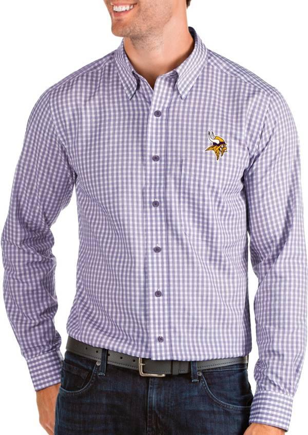 Antigua Men's Minnesota Vikings Structure Button Down Purple Dress Shirt product image