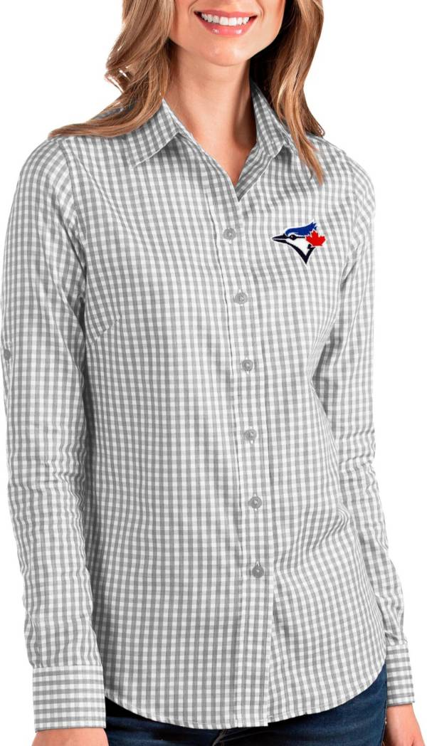 Antigua Women's Toronto Blue Jays Structure Grey Long Sleeve Button Down Shirt product image