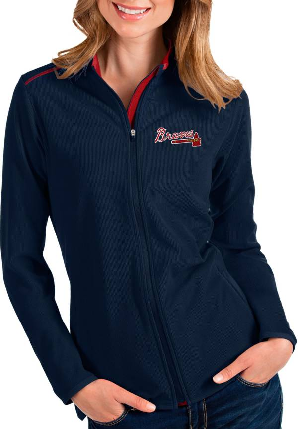 Antigua Women's Atlanta Braves Navy Glacier Full-Zip Jacket product image