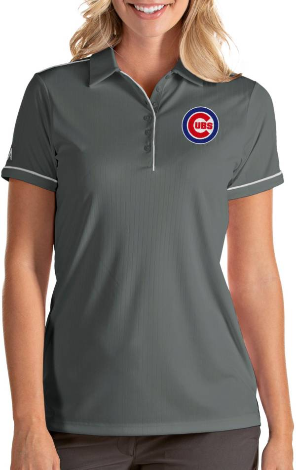 Antigua Women's Chicago Cubs Salute Grey Performance Polo product image