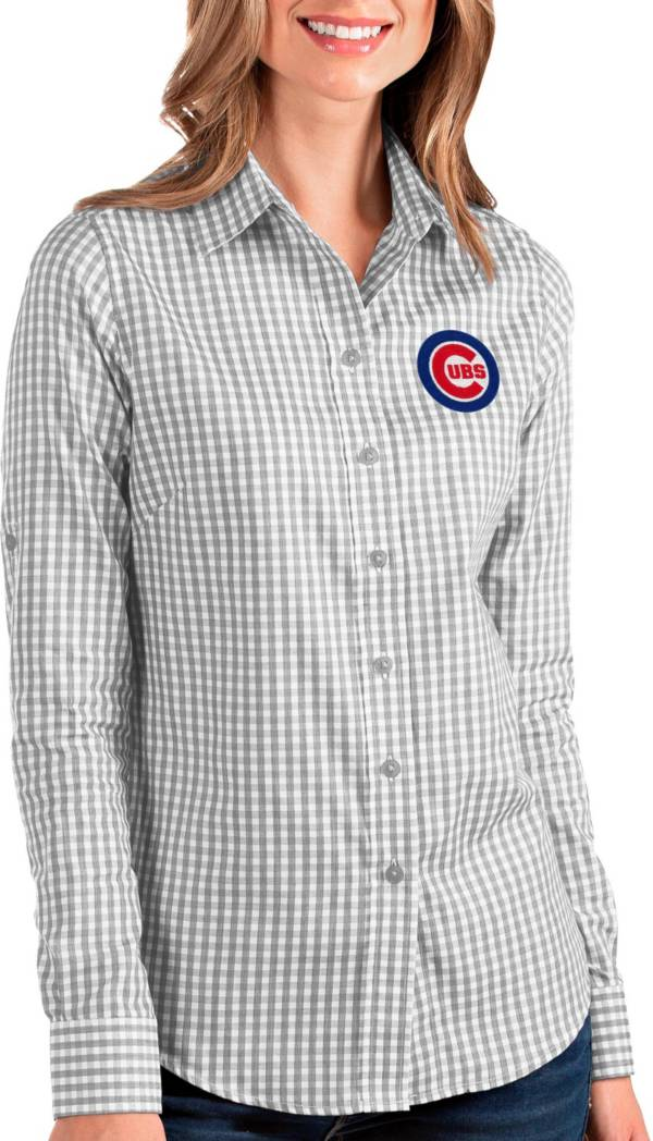 Antigua Women's Chicago Cubs Structure Button-Up Grey Long Sleeve Shirt product image
