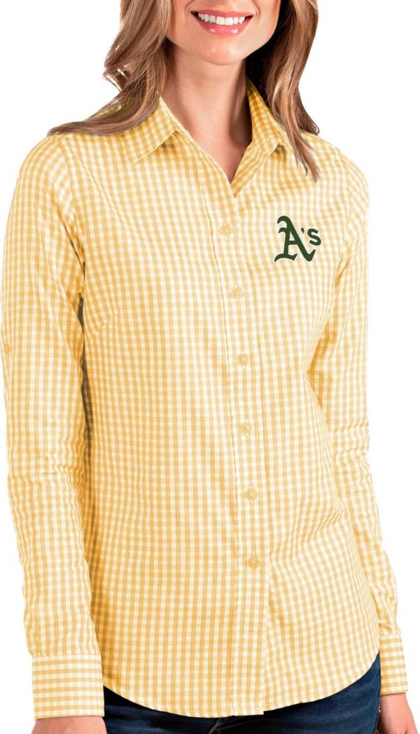 Antigua Women's Oakland A's Structure Button-Up Gold Long Sleeve Shirt product image