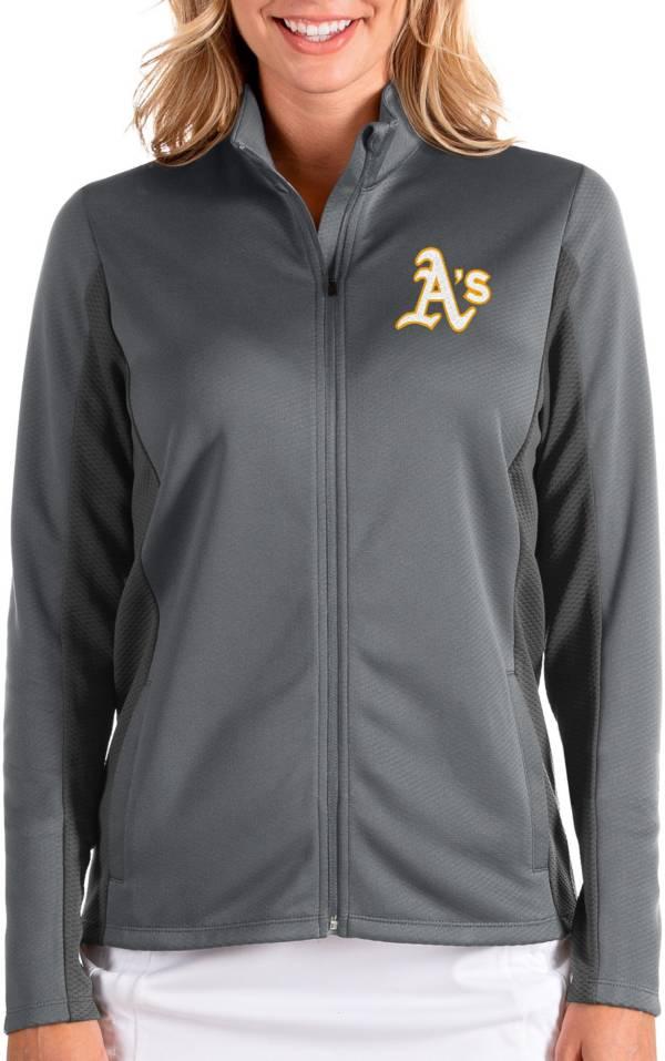 Antigua Women's Oakland Athletics Grey Passage Full-Zip Jacket product image