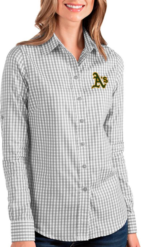 Antigua Women's Oakland A's Structure Button-Up Grey Long Sleeve Shirt product image
