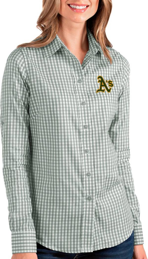 Antigua Women's Oakland A's Structure Button-Up Green Long Sleeve Button Down Shirt product image