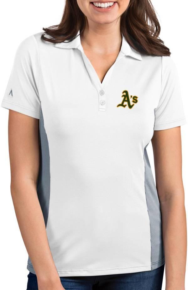 Antigua Women's Oakland Athletics Venture White Performance Polo product image