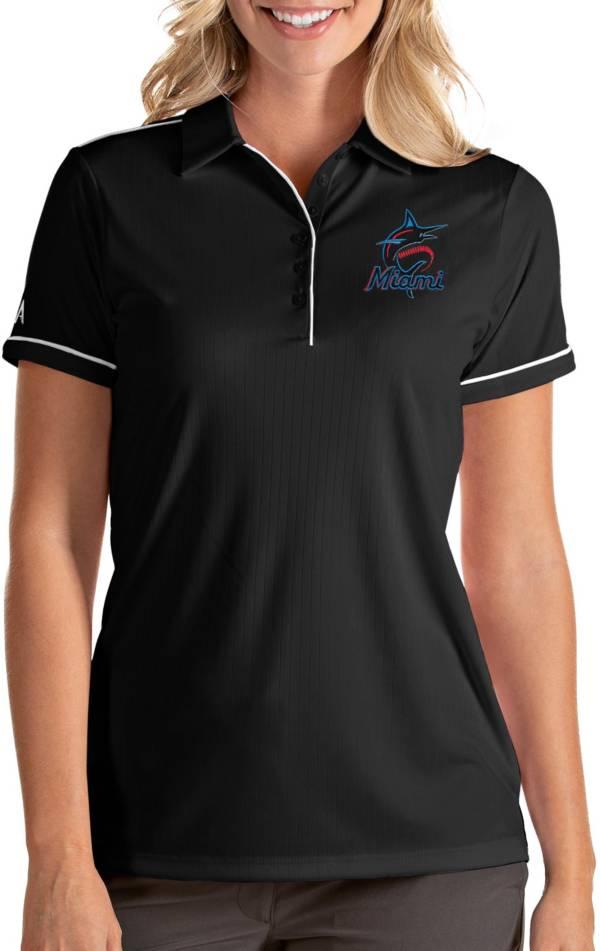 Antigua Women's Miami Marlins Salute Black Performance Polo product image