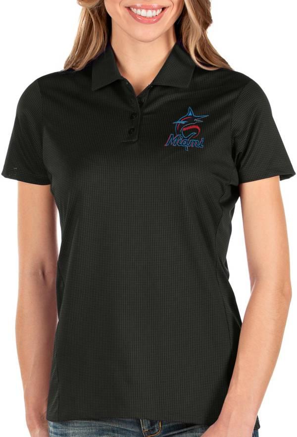 Antigua Women's Miami Marlins Black Balance Polo product image