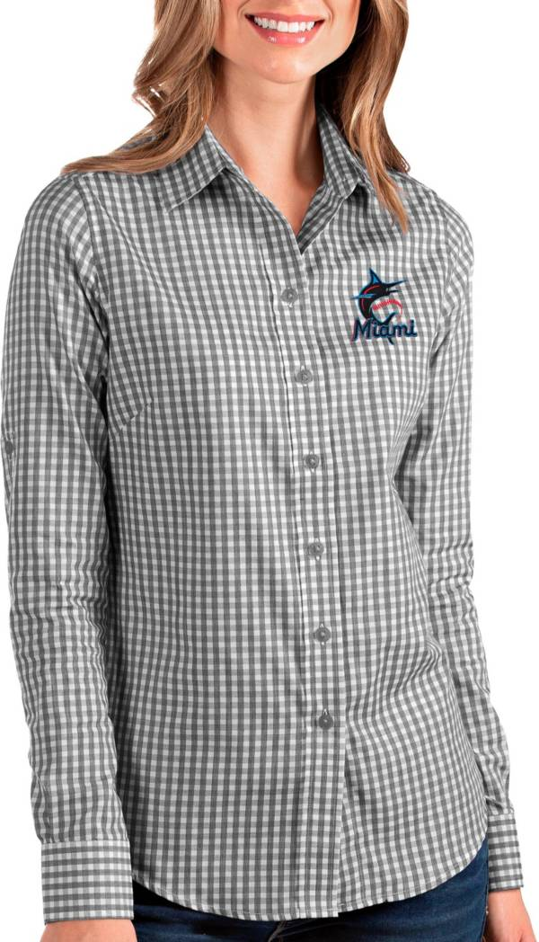 Antigua Women's Miami Marlins Structure Button-Up Black Long Sleeve Shirt product image
