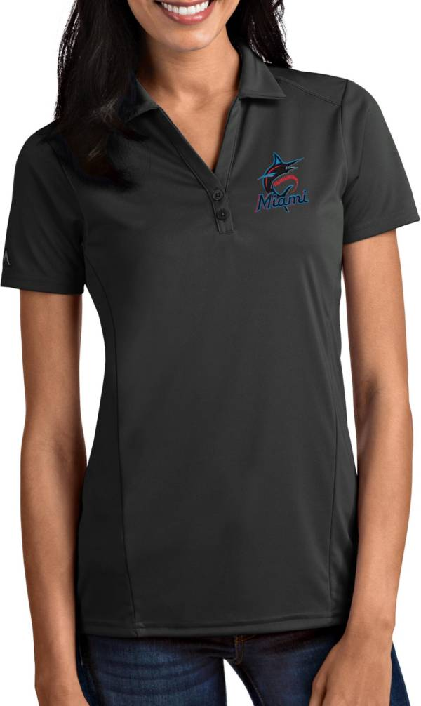 Antigua Women's Miami Marlins Tribute Grey Performance Polo product image