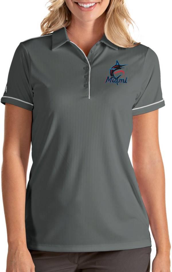 Antigua Women's Miami Marlins Salute Grey Performance Polo product image