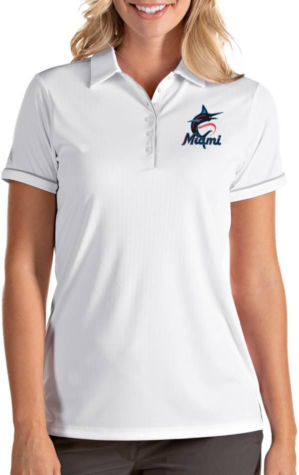 Antigua Women's Miami Marlins Salute White Performance Polo product image