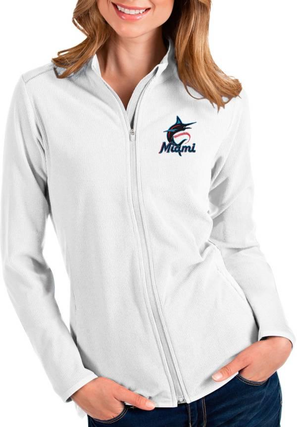Antigua Women's Miami Marlins White Glacier Full-Zip Jacket product image