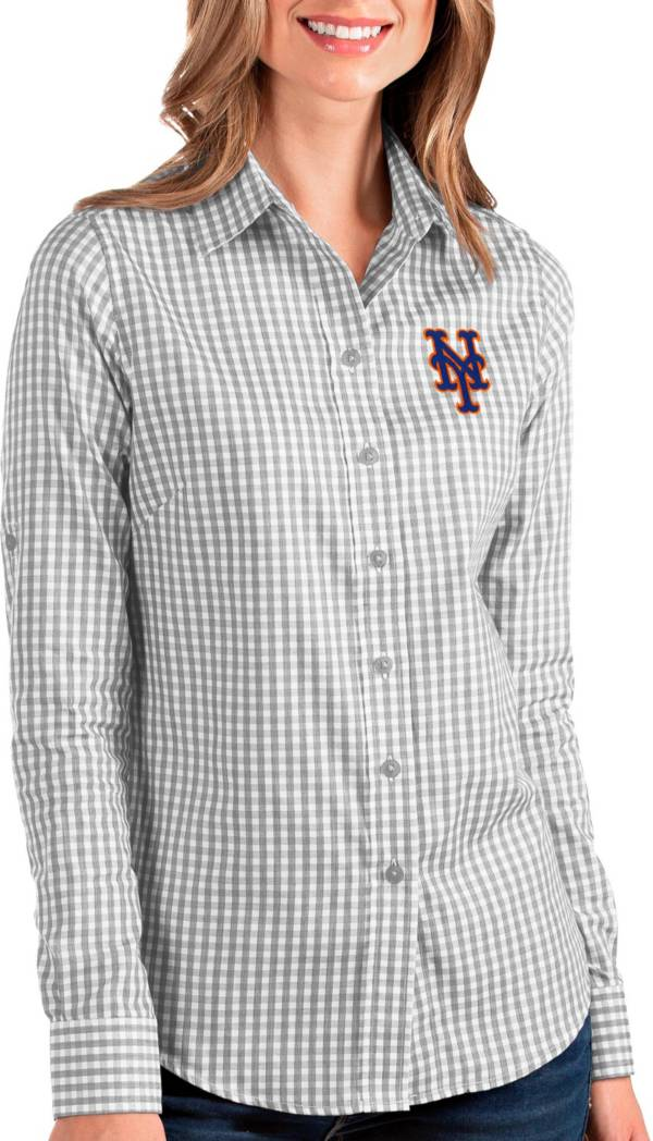 Antigua Women's New York Mets Structure Button-Up Grey Long Sleeve Shirt product image