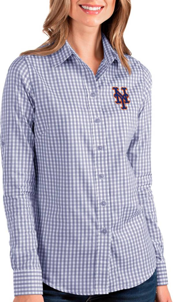 Antigua Women's New York Mets Structure Button-Up Royal Long Sleeve Shirt product image