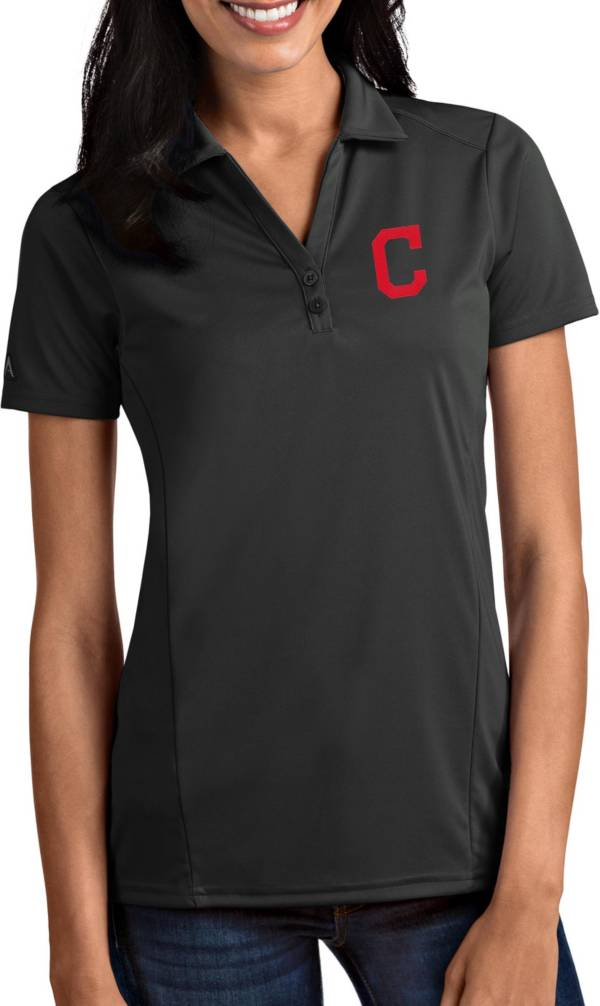 Antigua Women's Cleveland Indians Tribute Grey Performance Polo product image