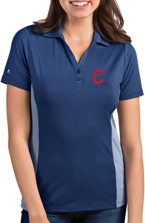 Antigua Women's Cleveland Indians Venture Navy Performance Polo product image