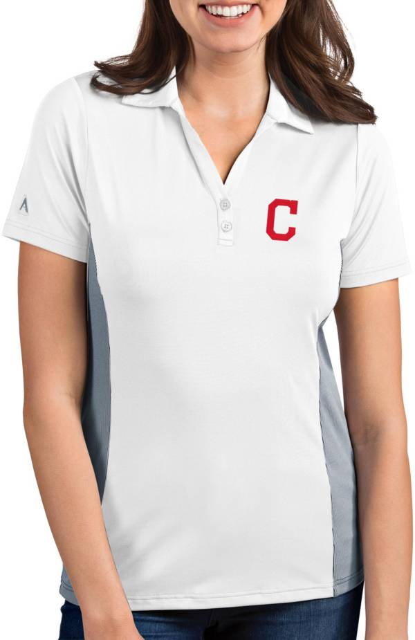 Antigua Women's Cleveland Indians Venture White Performance Polo product image