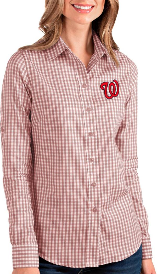 Antigua Women's Washington Nationals Structure Button-Up Red Long Sleeve Shirt product image