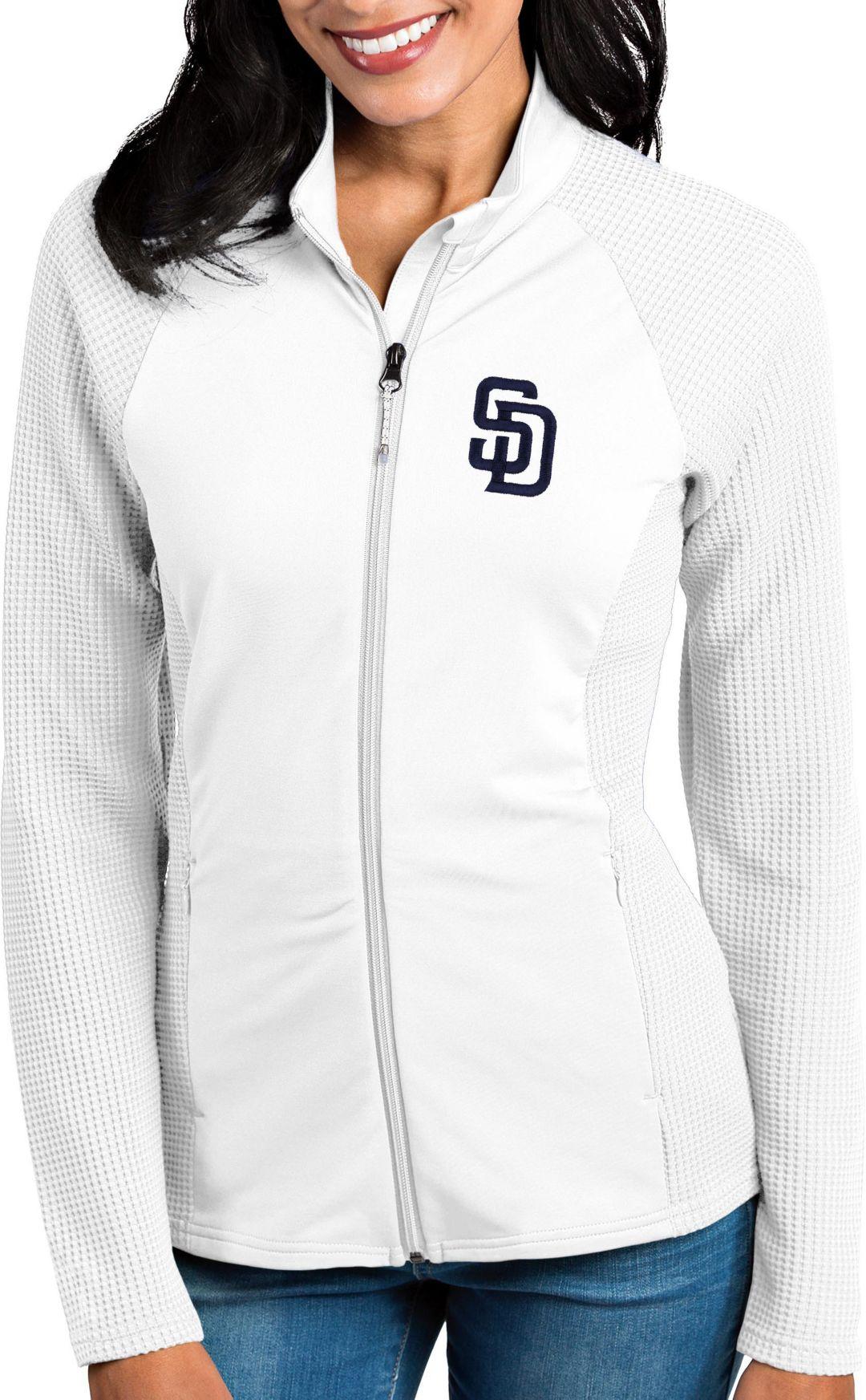 classic fit 63136 830c7 Antigua Women's San Diego Padres White Sonar Performance Quarter-Zip  Pullover