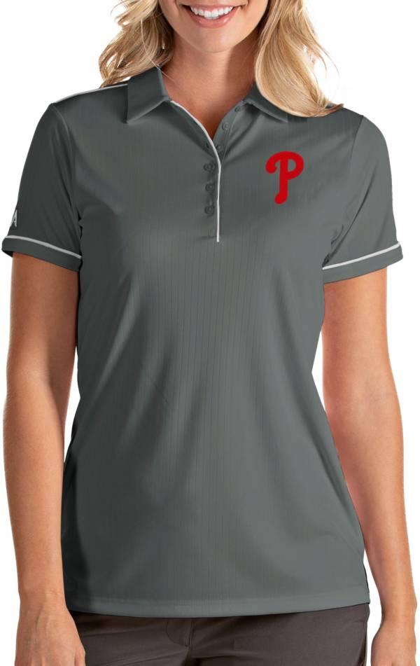 Antigua Women's Philadelphia Phillies Salute Grey Performance Polo product image
