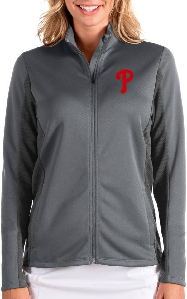 Antigua Women's Philadelphia Phillies Grey Passage Full-Zip Jacket product image