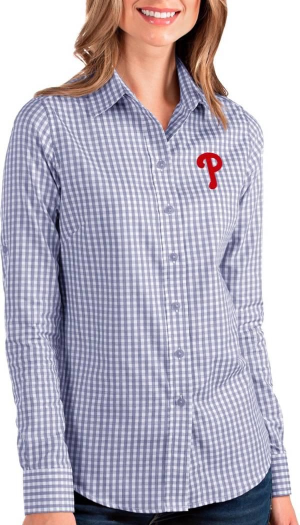 Antigua Women's Philadelphia Phillies Structure Royal Long Sleeve Button Down Shirt product image