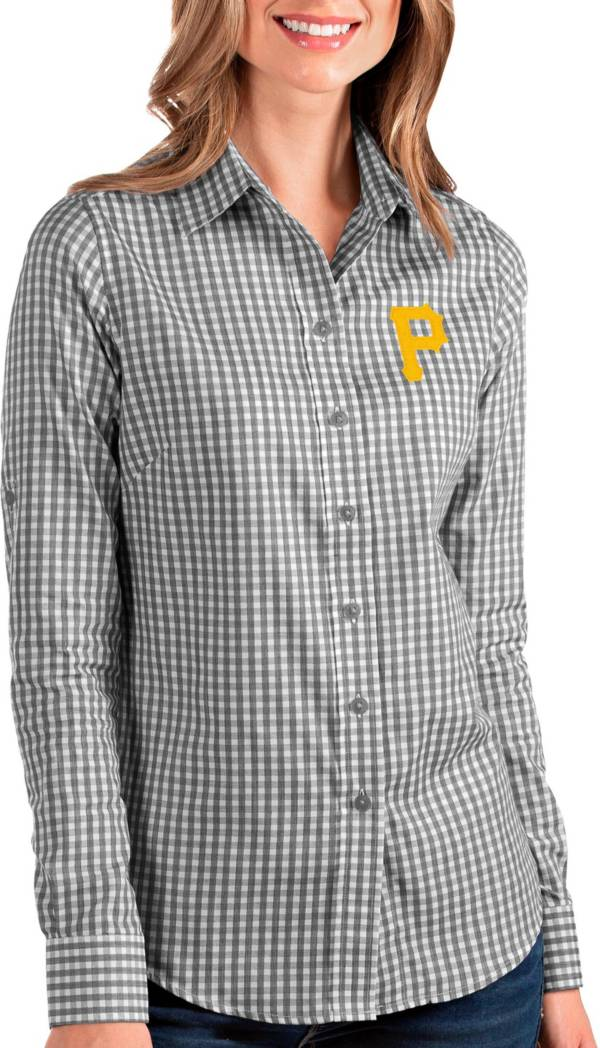 Antigua Women's Pittsburgh Pirates Structure Black Long Sleeve Button Down Shirt product image