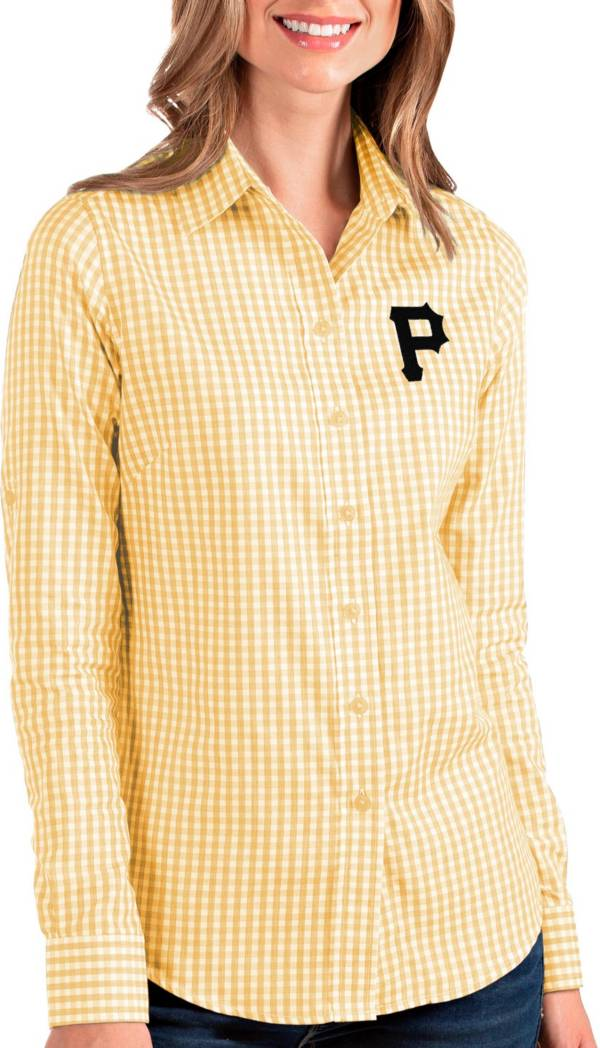 Antigua Women's Pittsburgh Pirates Structure Button-Up Gold Long Sleeve Button Down Shirt product image