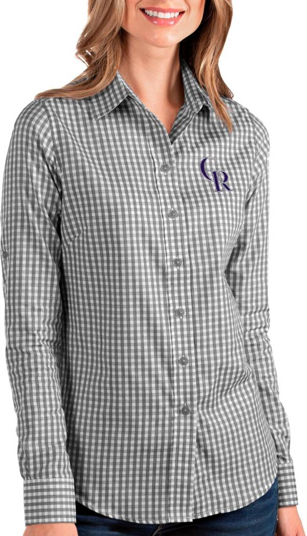 Antigua Women's Colorado Rockies Structure Button-Up Black Long Sleeve Shirt product image
