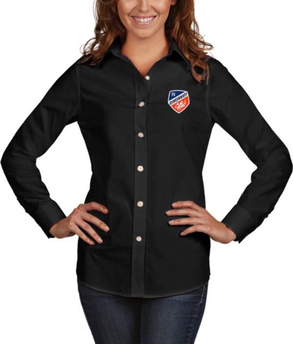 Antigua Women's FC Cincinnati Dynasty Black Long Sleeve Button Down Shirt product image