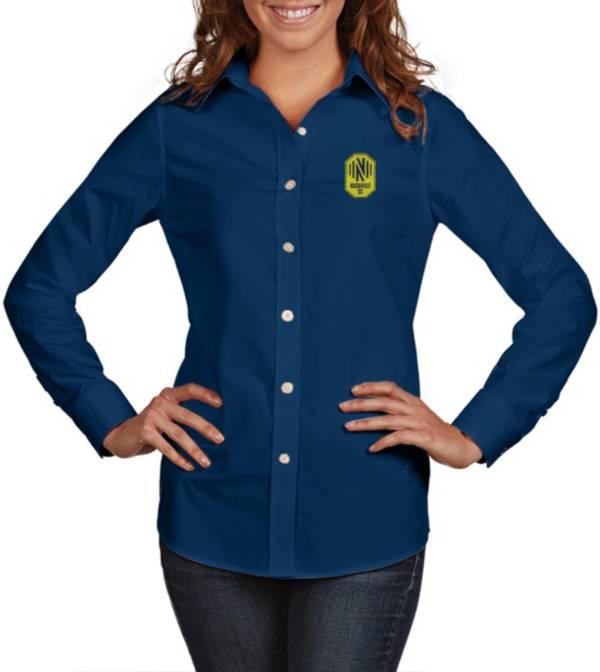 Antigua Women's Nashville SC Dynasty Navy Long Sleeve Button Down Shirt product image