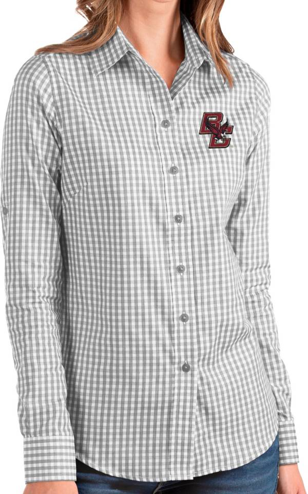 Antigua Women's Boston College Eagles Grey Structure Button Down Long Sleeve Shirt product image