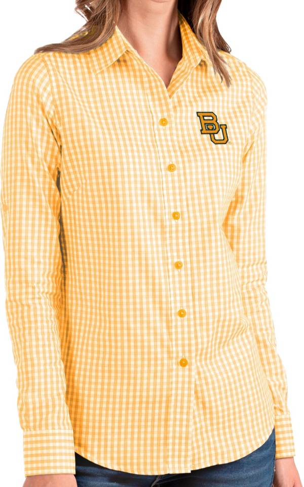 Antigua Women's Baylor Bears Gold Structure Button Down Long Sleeve Shirt product image