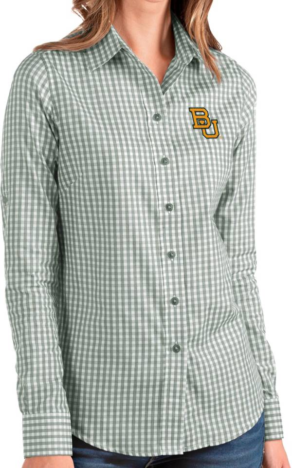 Antigua Women's Baylor Bears Green Structure Button Down Long Sleeve Shirt product image