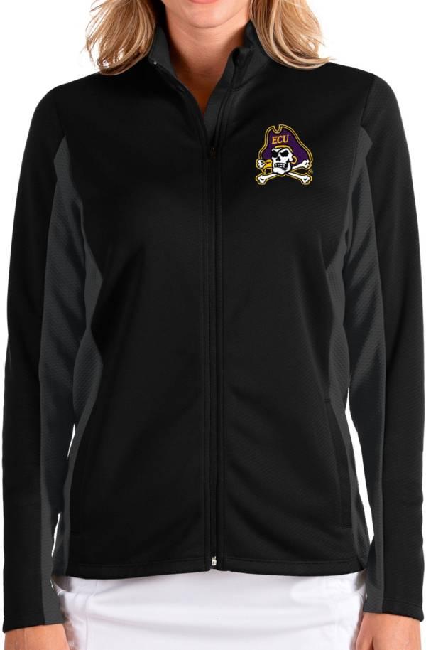 Antigua Women's East Carolina Pirates Passage Full-Zip Black Jacket product image