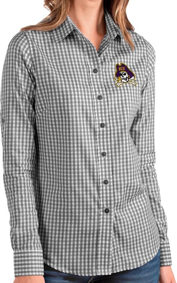 Antigua Women's East Carolina Pirates Structure Button Down Long Sleeve Black Shirt product image