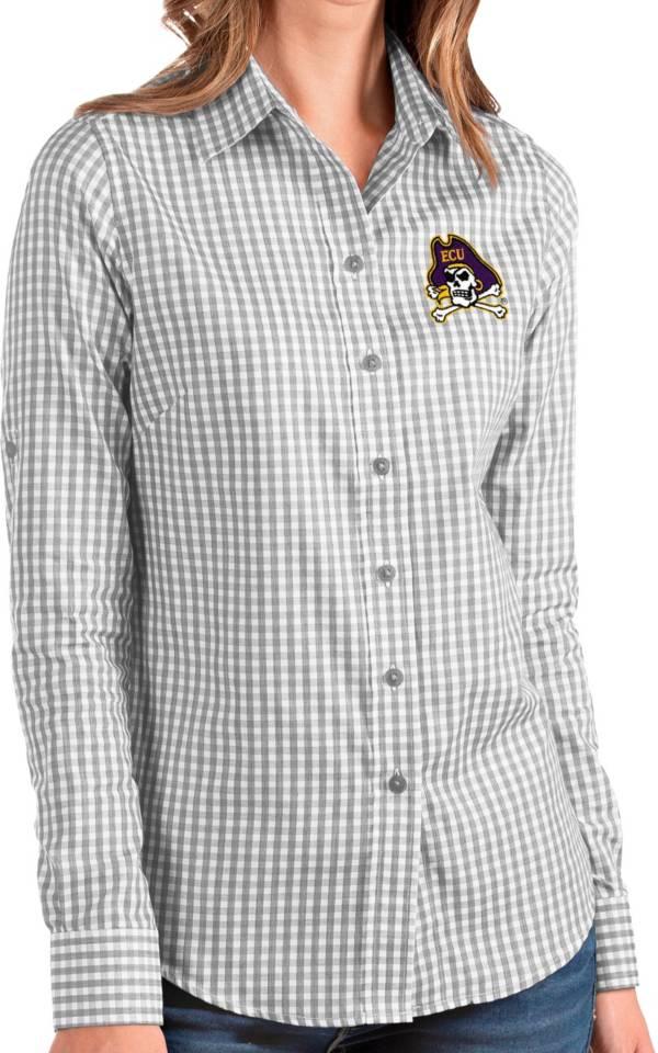 Antigua Women's East Carolina Pirates Grey Structure Button Down Long Sleeve Shirt product image