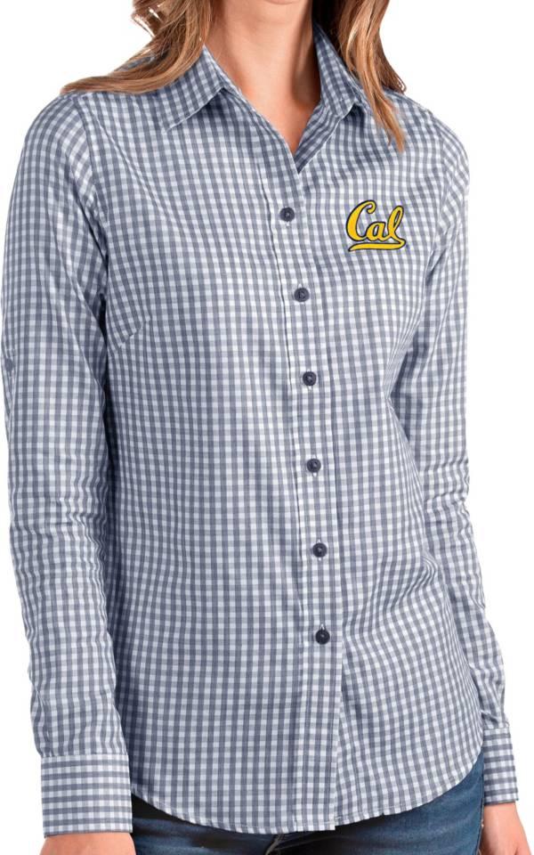 Antigua Women's Cal Golden Bears Blue Structure Button Down Long Sleeve Shirt product image
