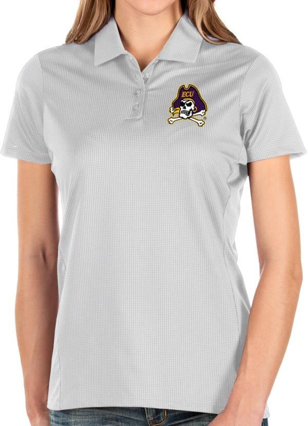 Antigua Women's East Carolina Pirates Balance White Polo product image
