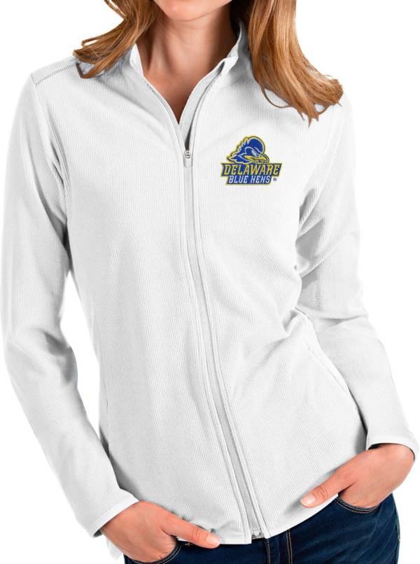 Antigua Women's Delaware Fightin' Blue Hens Glacier Full-Zip White Jacket product image