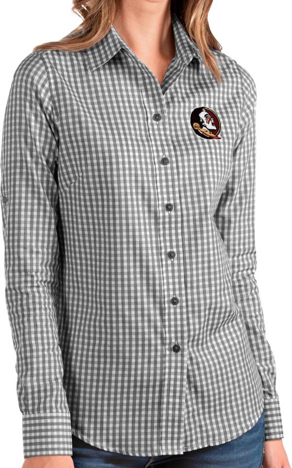 Antigua Women's Florida State Seminoles Structure Button Down Long Sleeve Black Shirt product image