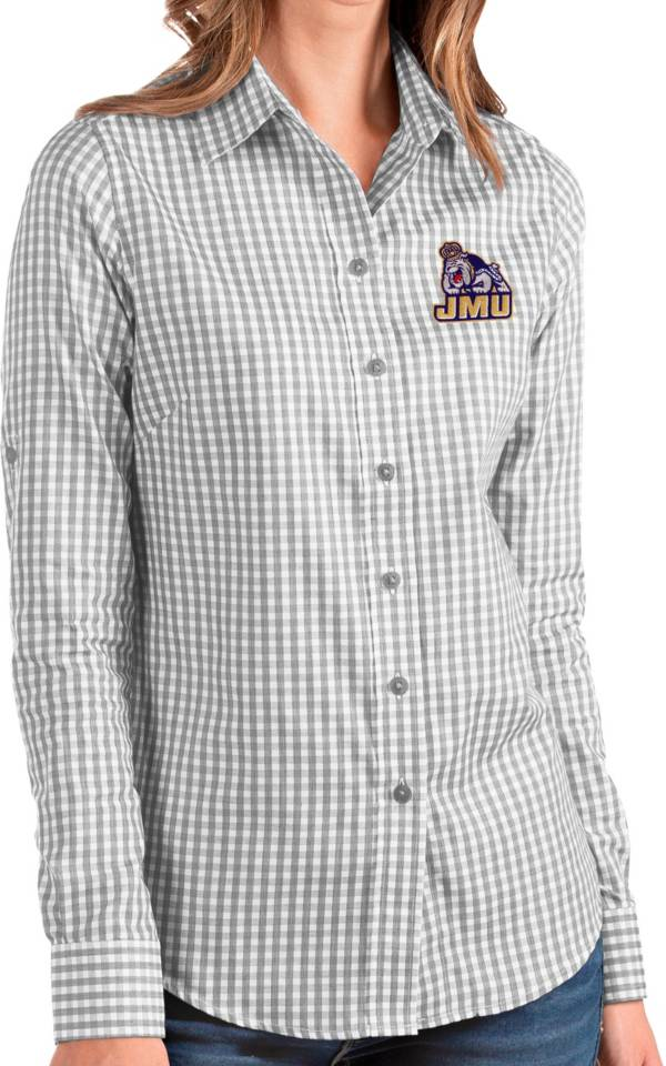Antigua Women's James Madison Dukes Grey Structure Button Down Long Sleeve Shirt product image
