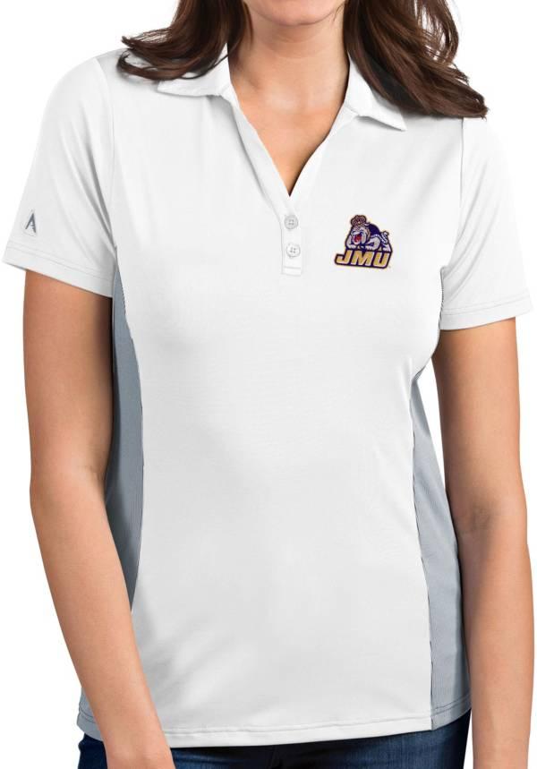 Antigua Women's James Madison Dukes Venture White Polo product image