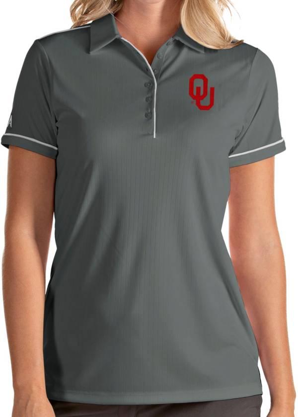 Antigua Women's Oklahoma Sooners Grey Salute Performance Polo product image