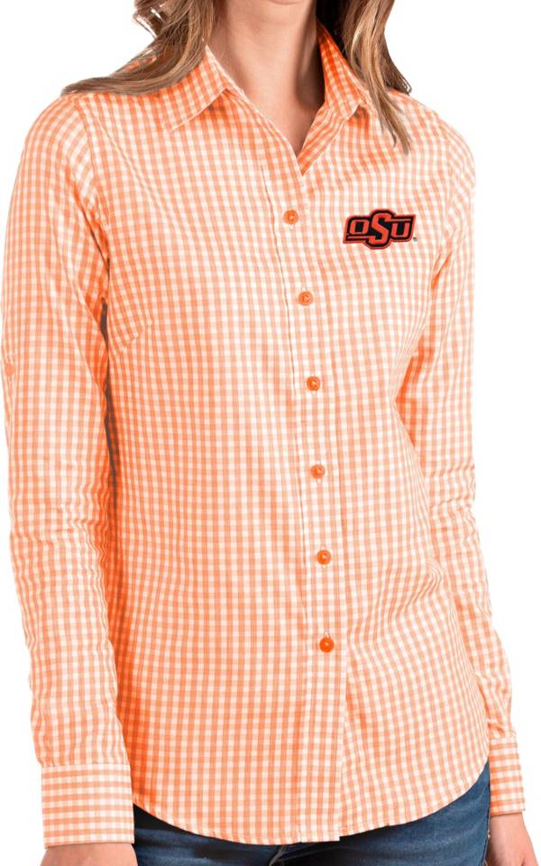 Antigua Women's Oklahoma State Cowboys Orange Structure Button Down Long Sleeve Shirt product image