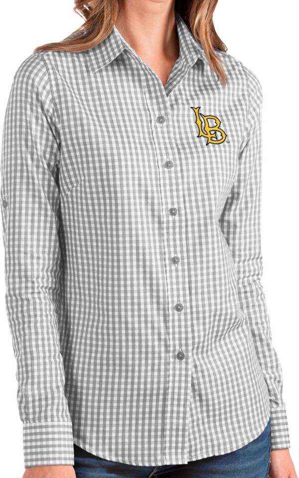 Antigua Women's Long Beach State 49ers Grey Structure Button Down Long Sleeve Shirt product image