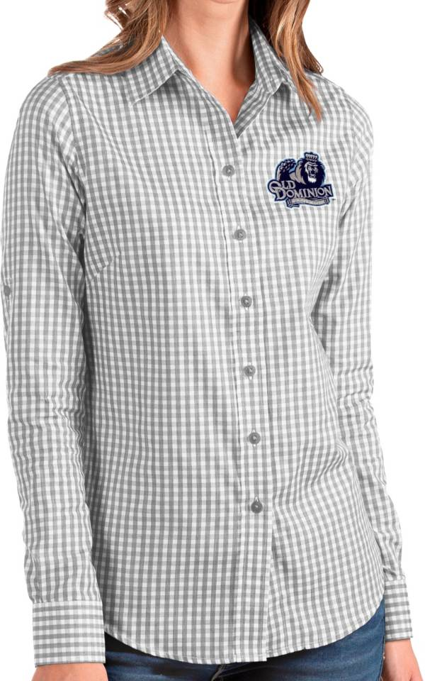 Antigua Women's Old Dominion Monarchs Grey Structure Button Down Long Sleeve Shirt product image