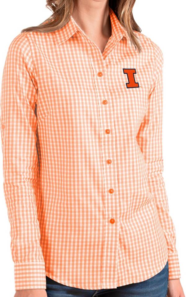 Antigua Women's Illinois Fighting Illini Orange Structure Button Down Long Sleeve Shirt product image
