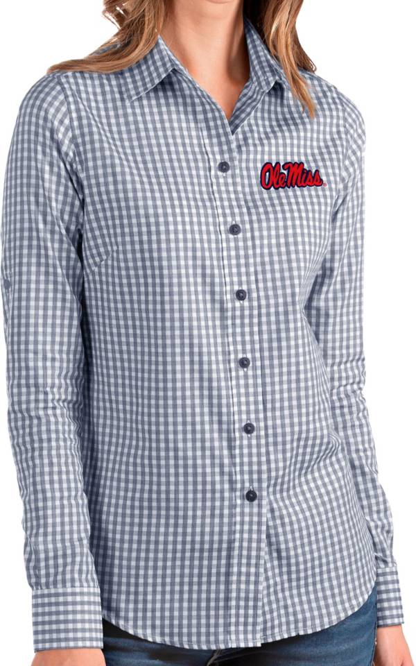 Antigua Women's Ole Miss Rebels Blue Structure Button Down Long Sleeve Shirt product image